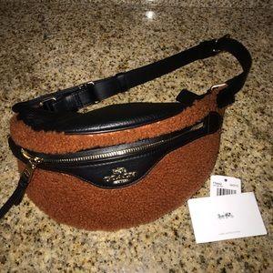 fur coach belt bag